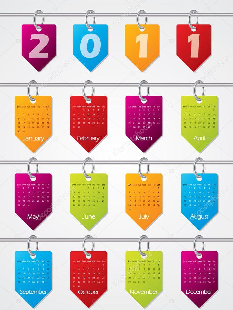 Suspension design calendrier pour 2011 image vectorielle - Calendrier design ...