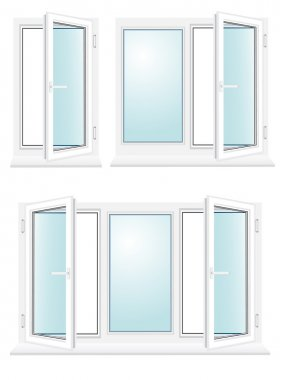 Open plastic glass window vector illustration