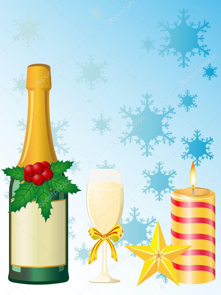 Christmas champagne vector illustration
