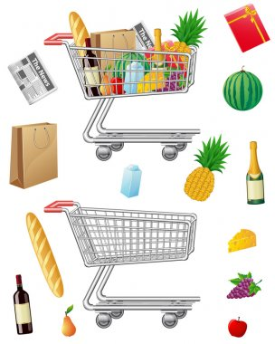 Shopping cart with purchases and foods vector illustration stock vector
