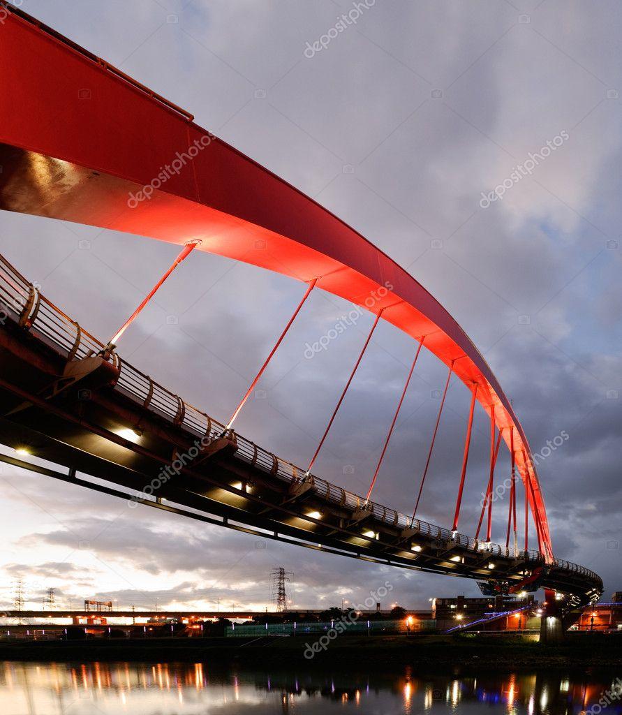Cityscape of bridge in sunset, modern architecture in Taipei, Taiwan.