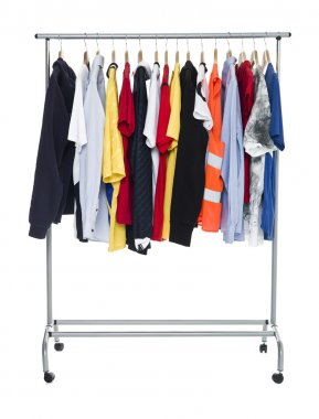 Clothes on a Rack isolated on white Background stock vector