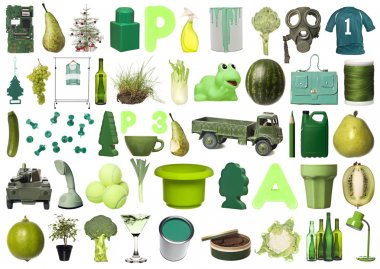 Large group of Green objects isolated on white background stock vector