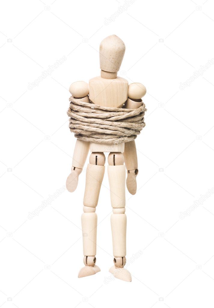 Tied up Drawing Doll isolated on white background