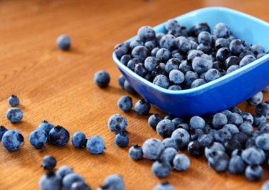 Blueberries on table
