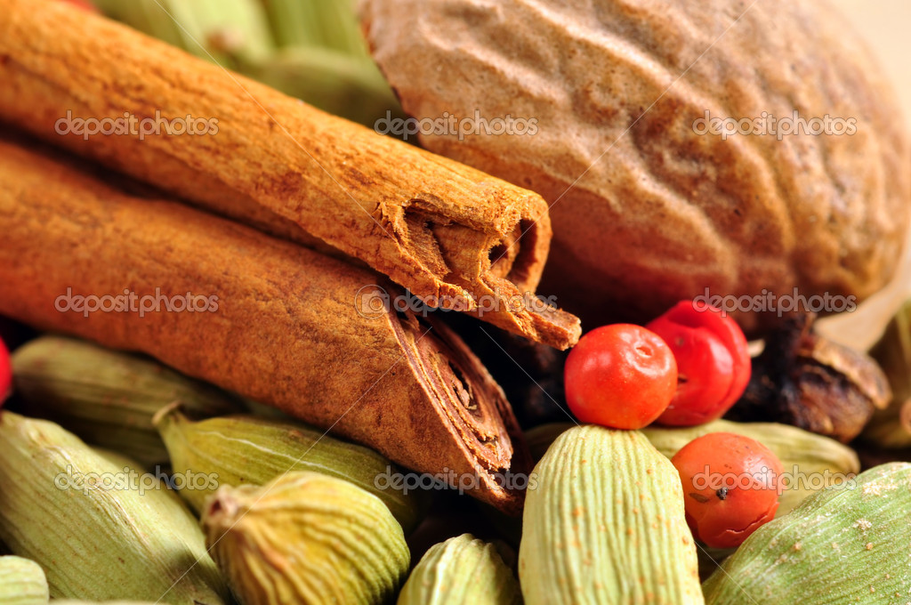 Mix of colorful natural spices