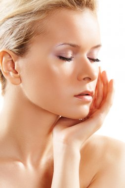 Wellness, healthcare, skin care. Beautiful woman with clean skin
