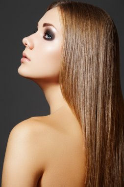 Beautiful hairstyle. Model with straight long hair