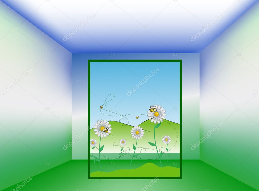 Fals perspective Empty room with picture, vector