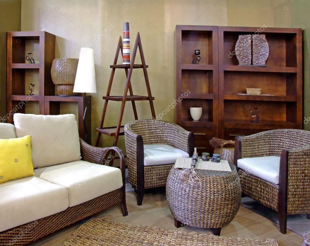 Eitelkeit Rattanmöbel Wohnzimmer Das Beste Von Rattan — Stockfoto