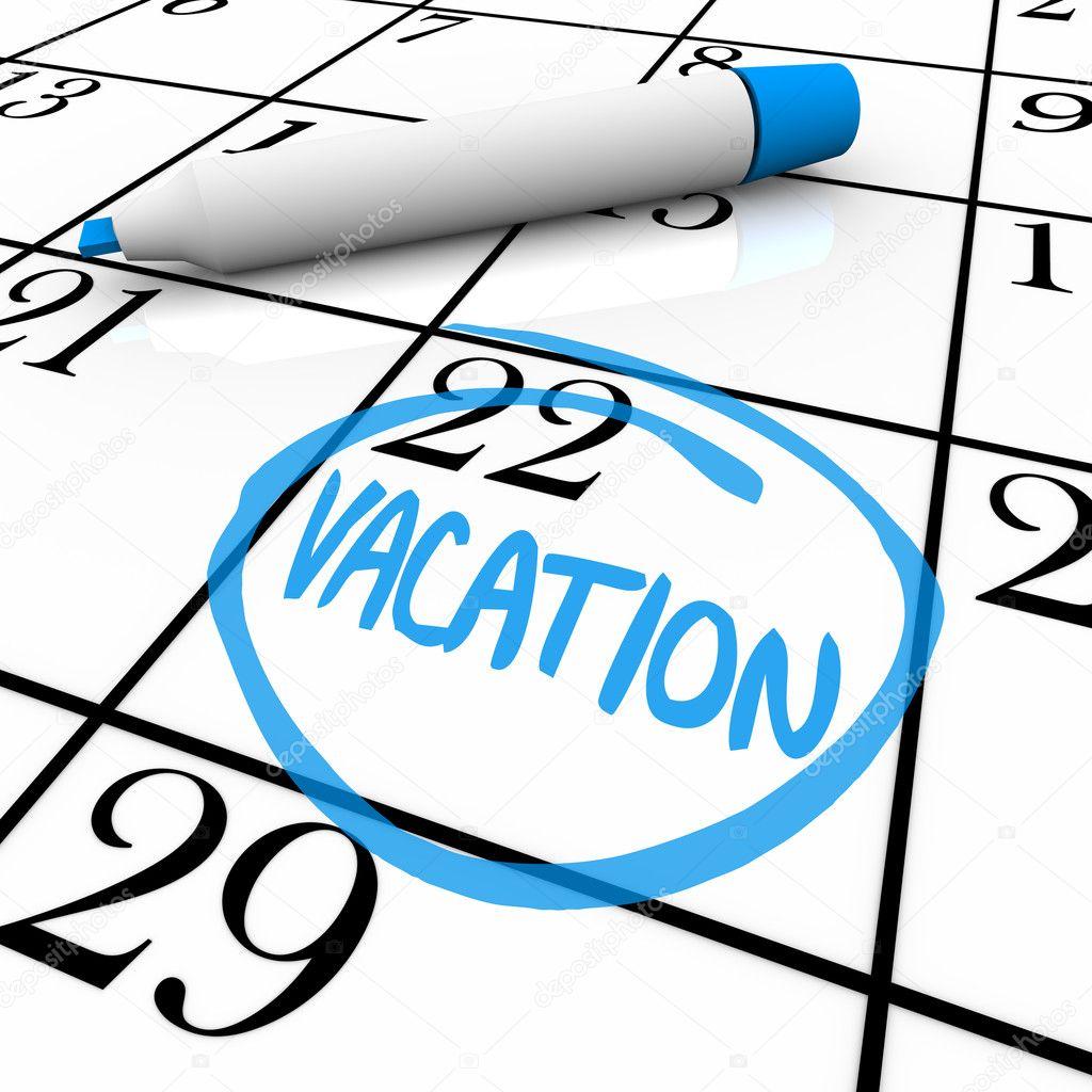 calendario - día de vacaciones en un círculo — Fotos de Stock ...