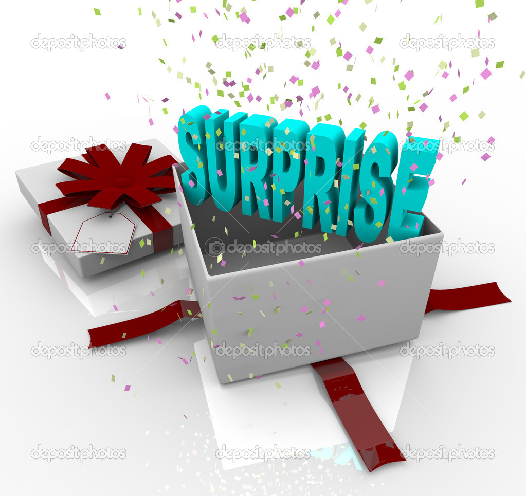 Surprise present happy birthday gift box stock photo a white gift box springs open to reveal the word surprise photo by iqoncept negle Choice Image