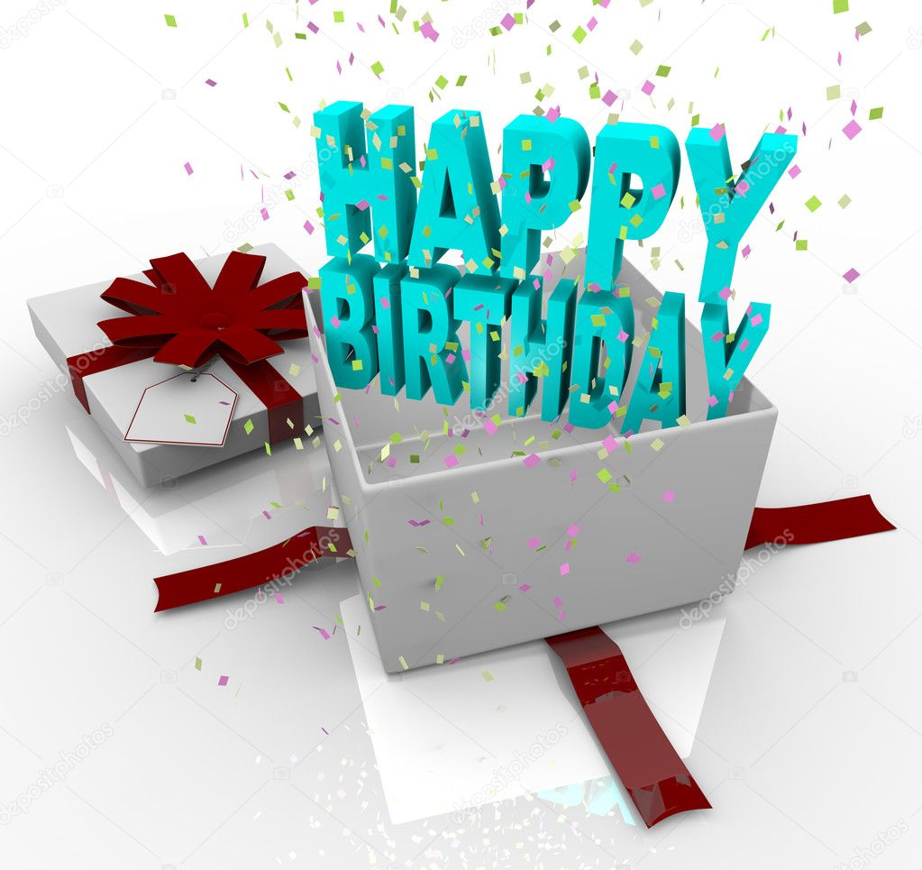 Present happy birthday gift box stock photo iqoncept 4440048 a white gift box springs open to reveal the words happy birthday photo by iqoncept negle Image collections