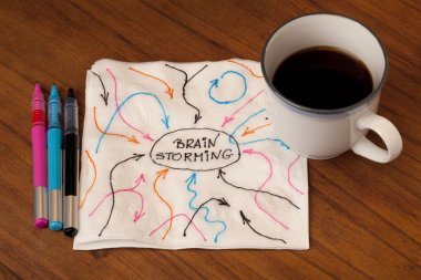 Brainstorming concept on napkin