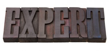 Expert word in letterpress type