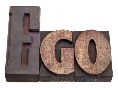 Ego - word in letterpress type