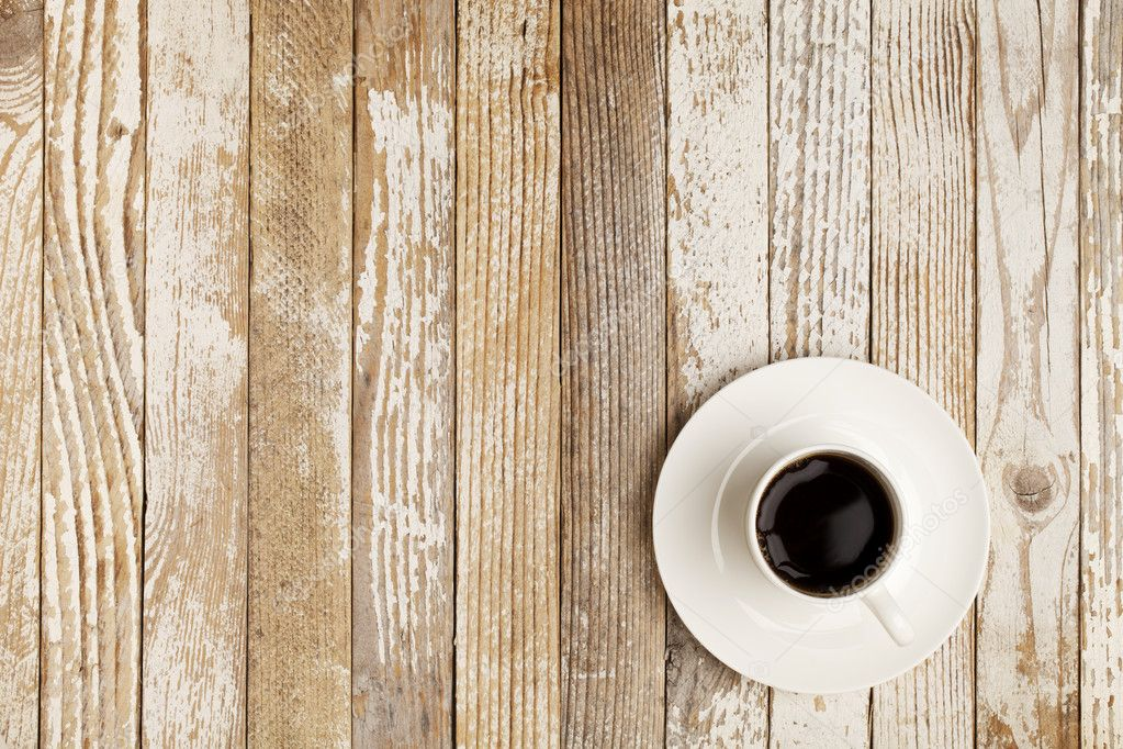 coffee cup on grunge table — stock photo © pixelsaway #5368778