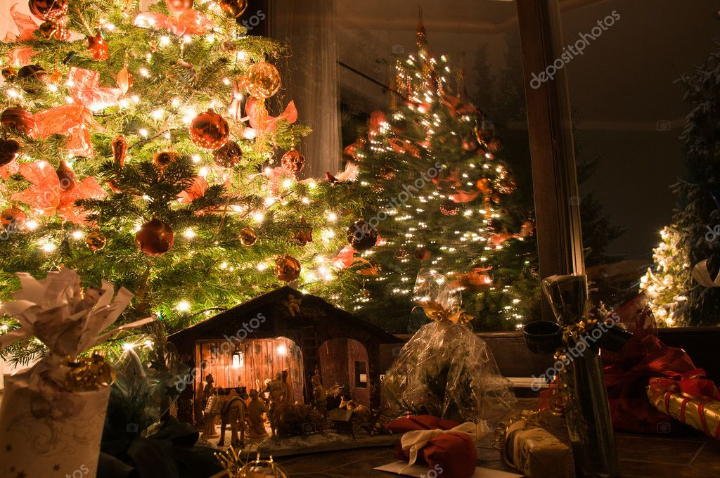 Christmas Tree Scenery Part - 41: Well Lit Christmas Tree With Presents, Nativity Scene And Outside Tree U2014  Photo By Franky242