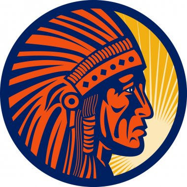Native american indian chief warrior side