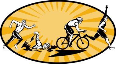 Triathlon athlete swim bike and run competition