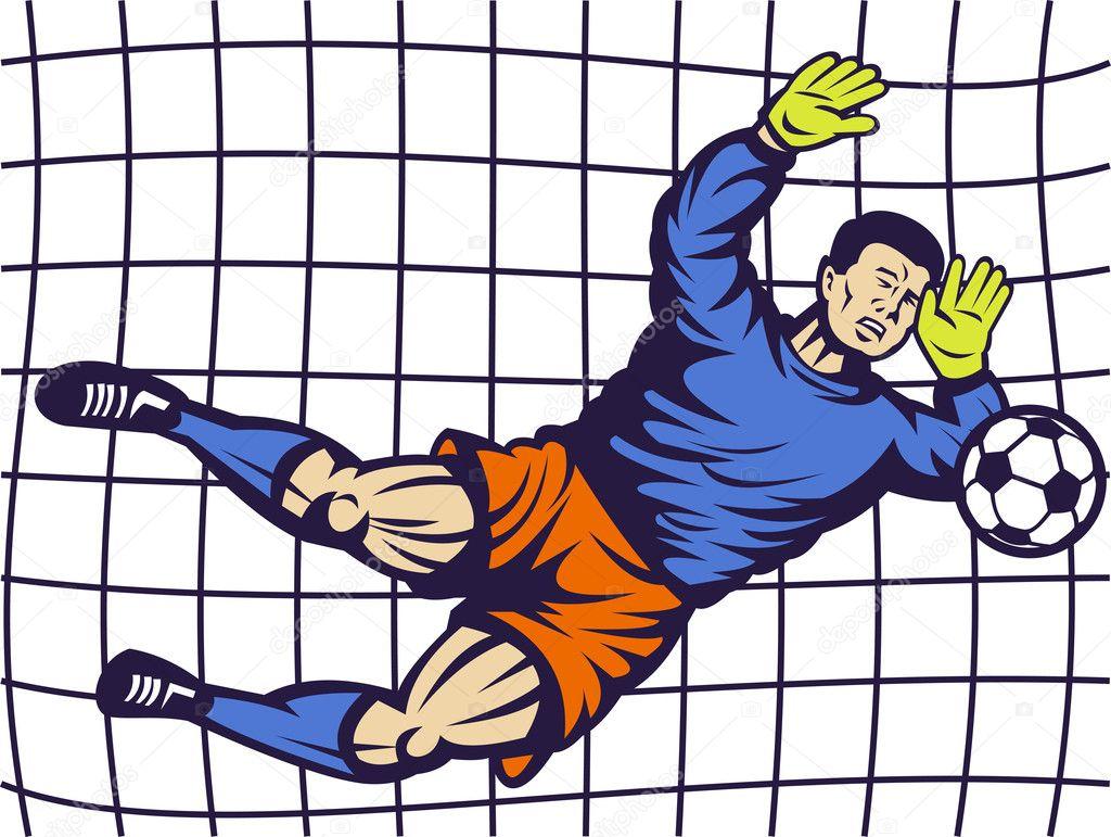 яркая рисунок вратарь на воротах защититься нападения перейти