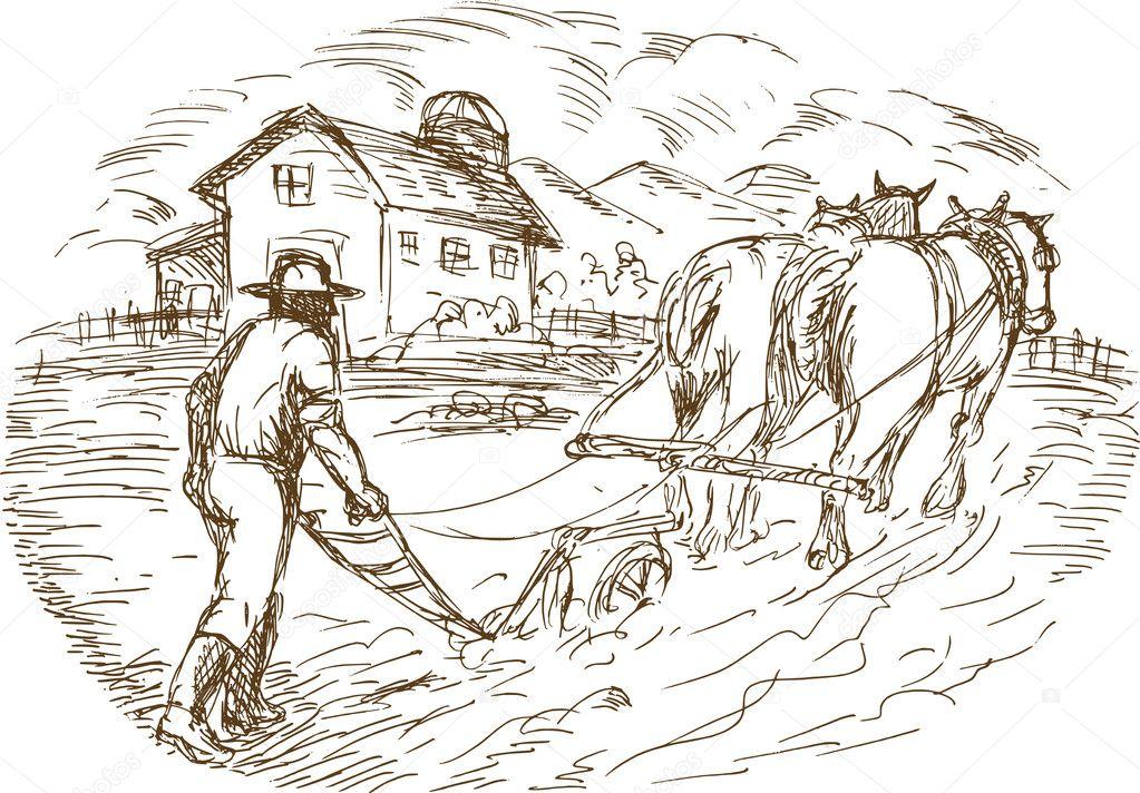 granjero y caballo arando el campo con casa granero — Fotos de Stock ...