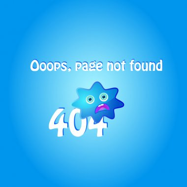 404 error page with blue character