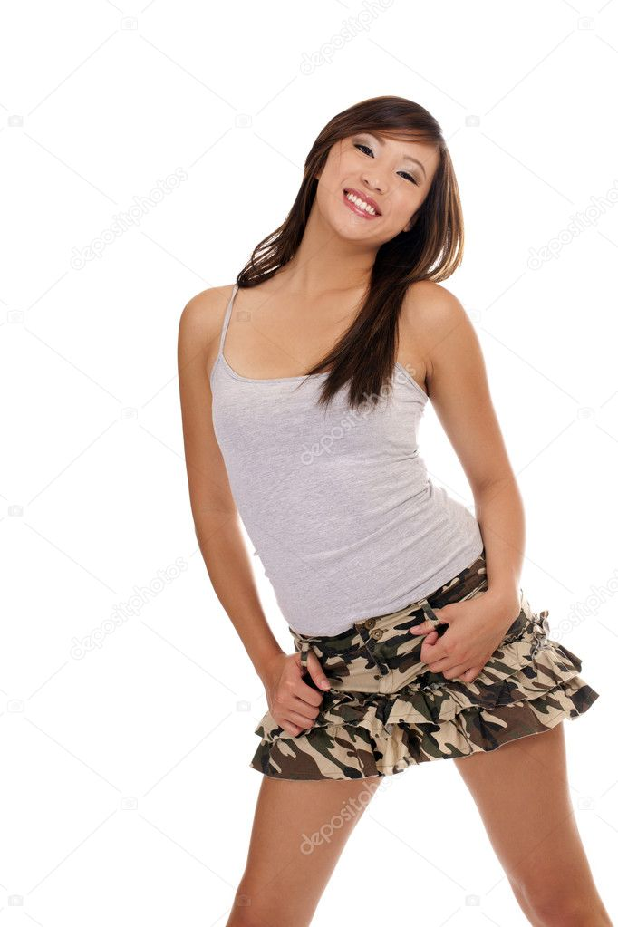 Young Asian American Teen Girl Short Skirt