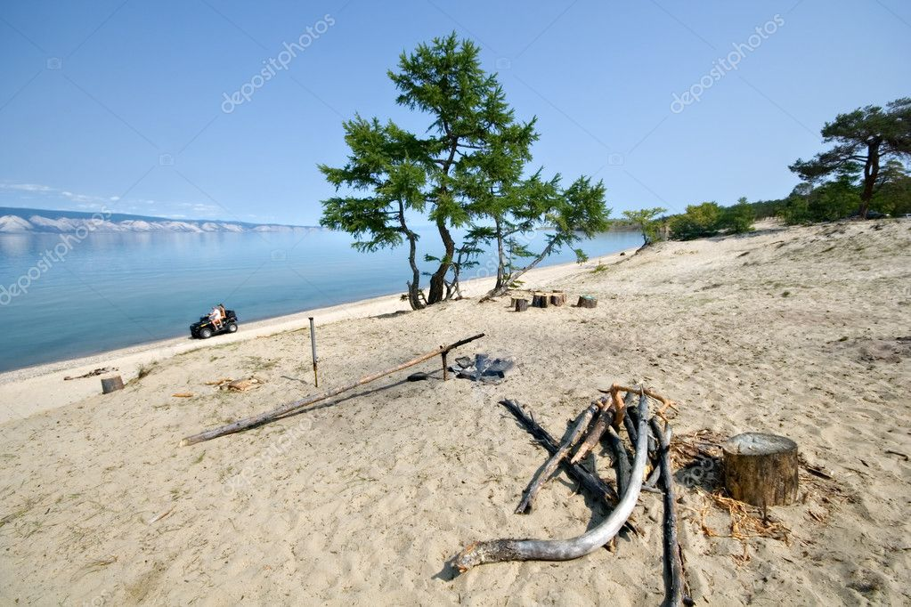 Camping, recreation, lake Baikal coast.Quadrocycle.