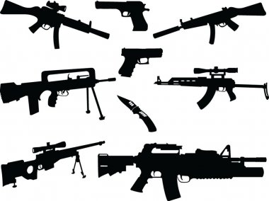 Different weapons collection silhouette - vector