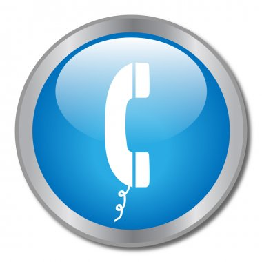 Image of a phone icon on a blue button. clip art vector