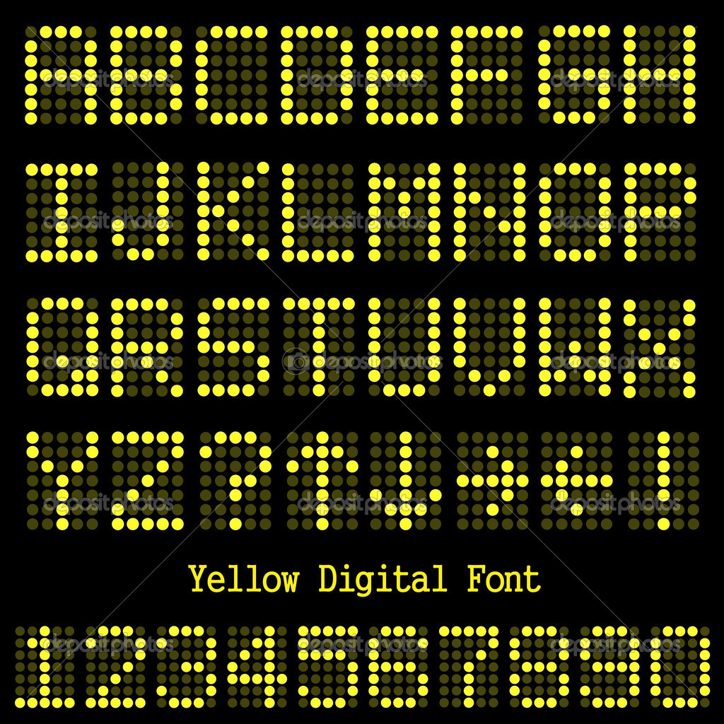 Yellow Digital Font Stock Vector 169 Nmarques74 4259965