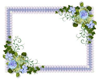 Wedding invitation blue floral