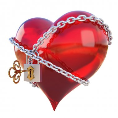 Red heart, wrapped a chain padlocked. isolated on white stock vector