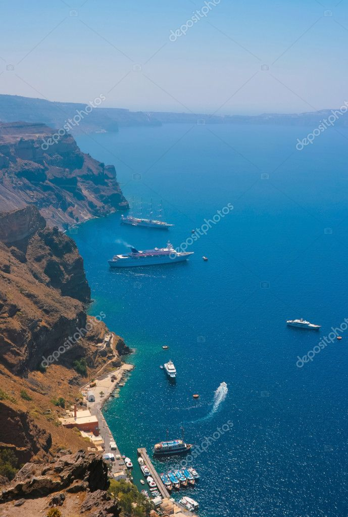 Harbor in Santorini with cruise ships