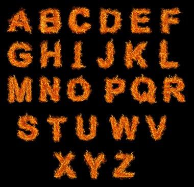 Set of Fire alphabet
