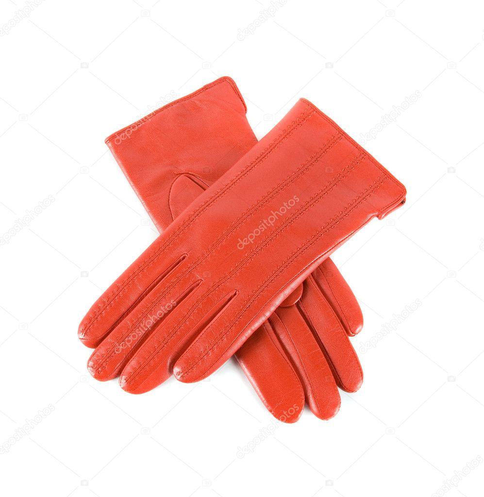 7fba5339e5 κόκκινη Γυναικεία δερμάτινα γάντια — Φωτογραφία Αρχείου © olinchuk ...