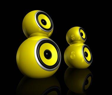 Three dimensional yellow speaker spheres isolated on black stock vector