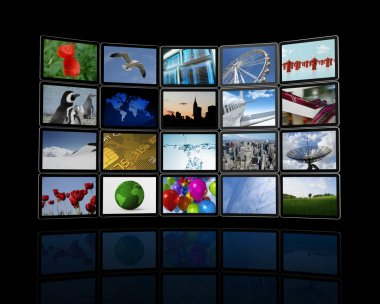 Video wall made of flat tv screens