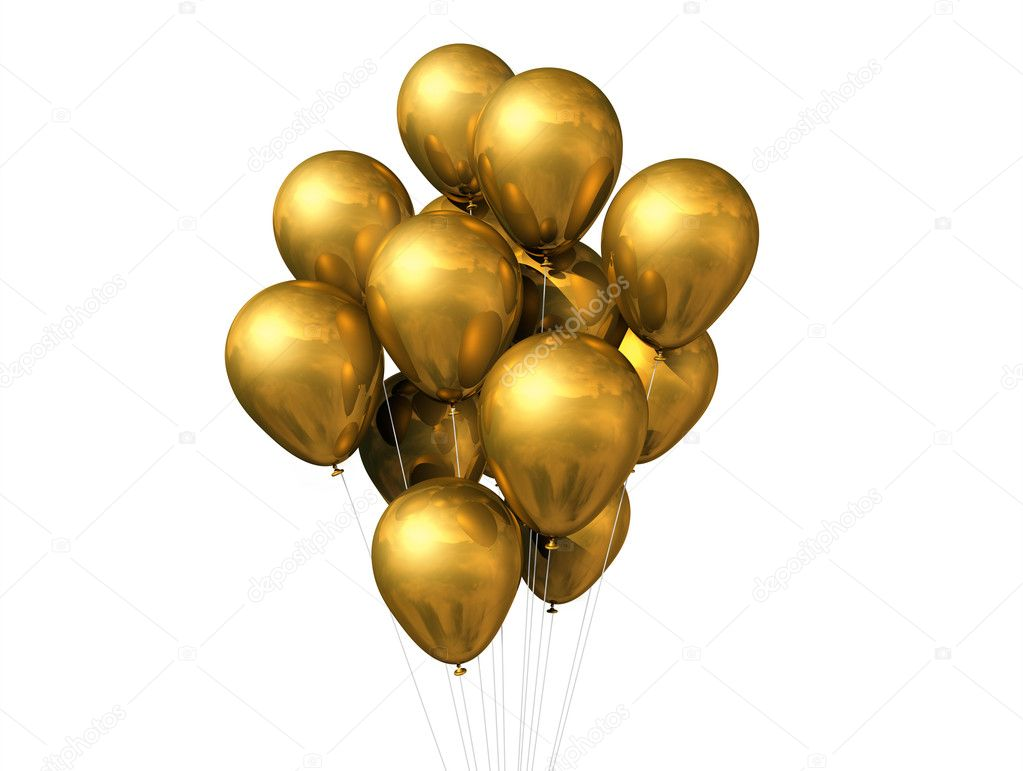 Gold balloons isolated on white