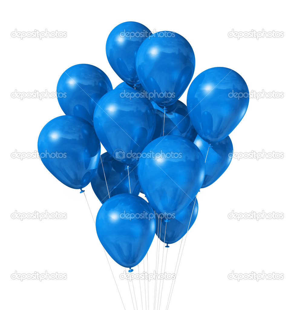 Blue balloons isolated on white