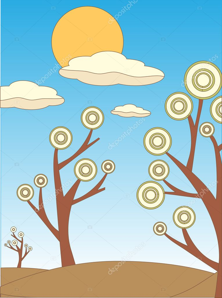 Bright Dry Colored Abstract landscape of trees and sun outline sketch style