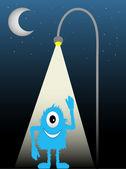 Photo Blue Furry One Eyed Creature Standing Under Street Lamp Waving