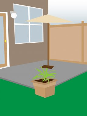 Residential backyard enclosed courtyard umbrella and plant editable vector