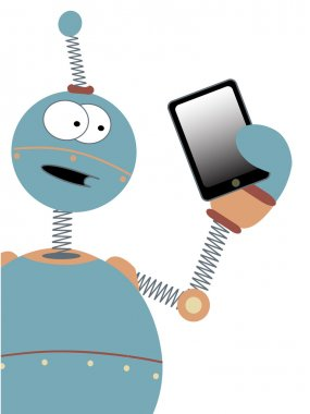 Surprised Cartoon Robot Holding Tablet