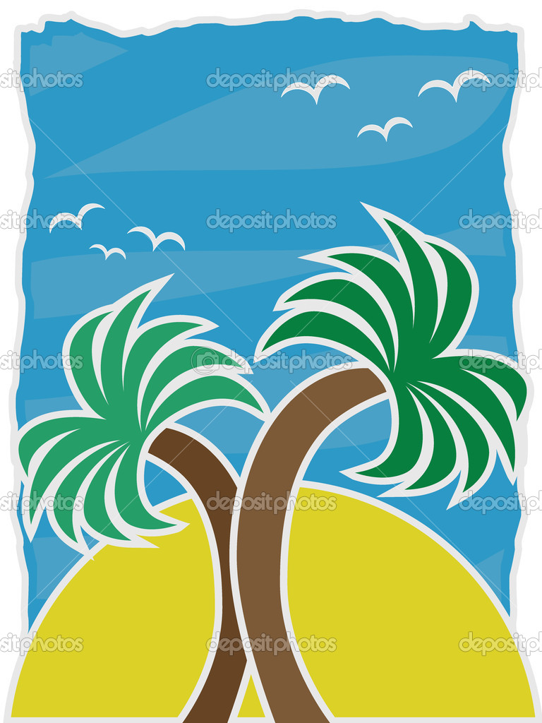 Vector Illustration Twin Palms accented by large sun birds blue sky