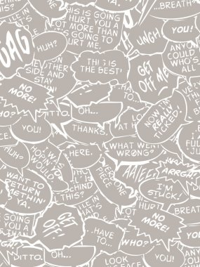 Collage of comic book dialogue bubbles vector white and black