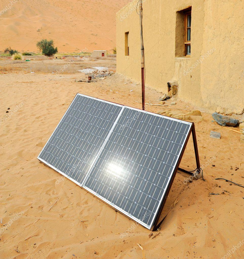 Solar panel with desert house — Stock Photo © firefox #4125747