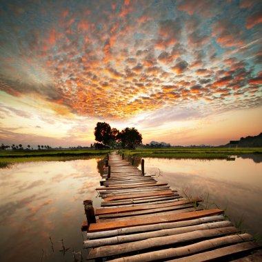 """Картина, постер, плакат, фотообои """"река на закате """", артикул 5086331"""