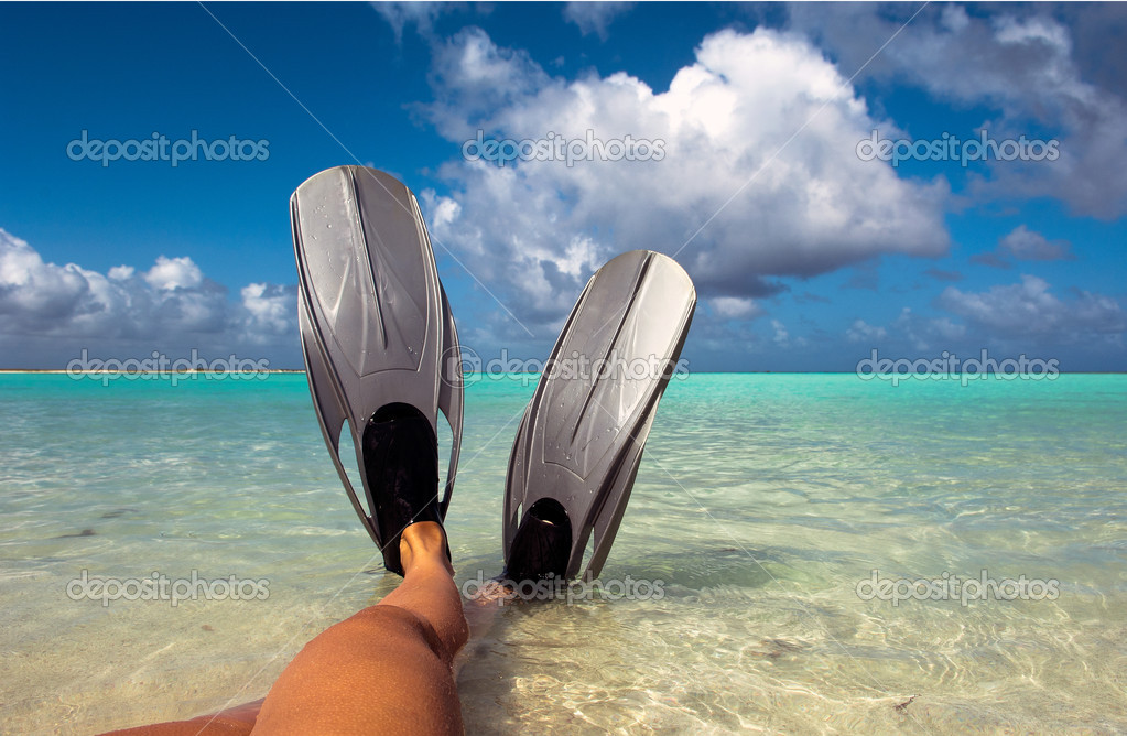 Feet in flippers at the beach